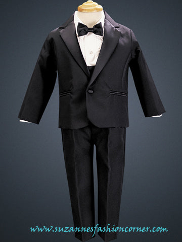 Boys Black Tuxedo Suit with Cummerbund style 7530B