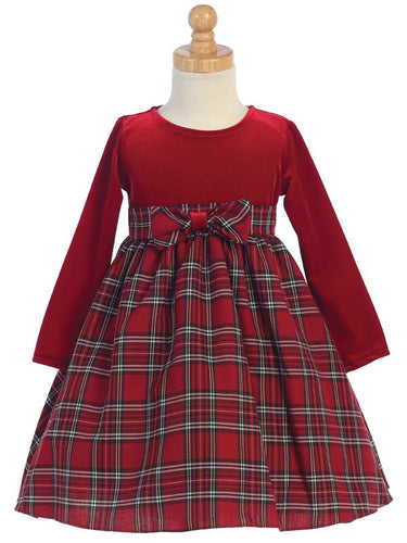 Girls Red Plaid Velvet Christmas Dress