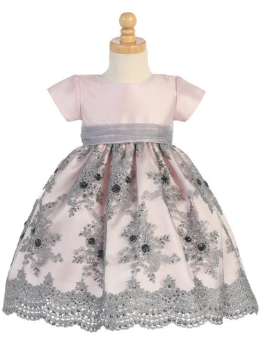 Pink & Silver shantung bodice and tulle skirt with embroidery and sequins