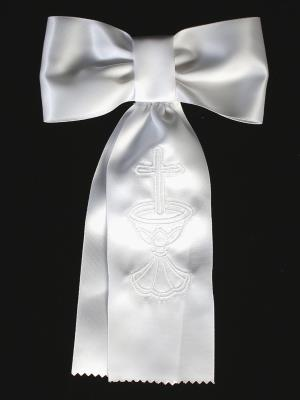 Boys Communion White Embroidered Arm Band
