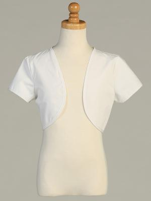 White Cotton Bolero Jacket by Lito