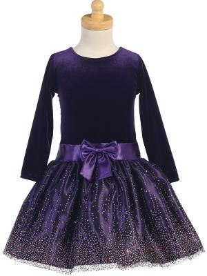 Sparkly Purple Tulle Velvet Dress