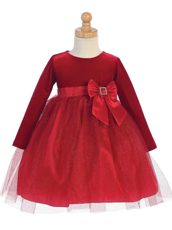 Red Velvet Glitter Tulle Dress