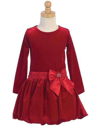 Lito Red Velvet Bubble Dress Style C995