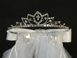 Communion Rhinestone Cross tiara & Veil