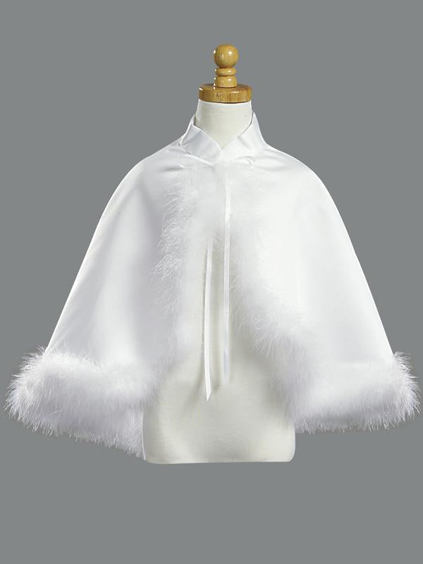 Girls White Satin Communion Cape Marabou Trim