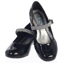 Load image into Gallery viewer, Girls Black Patent Leather Shoe with Rhinestone Strap
