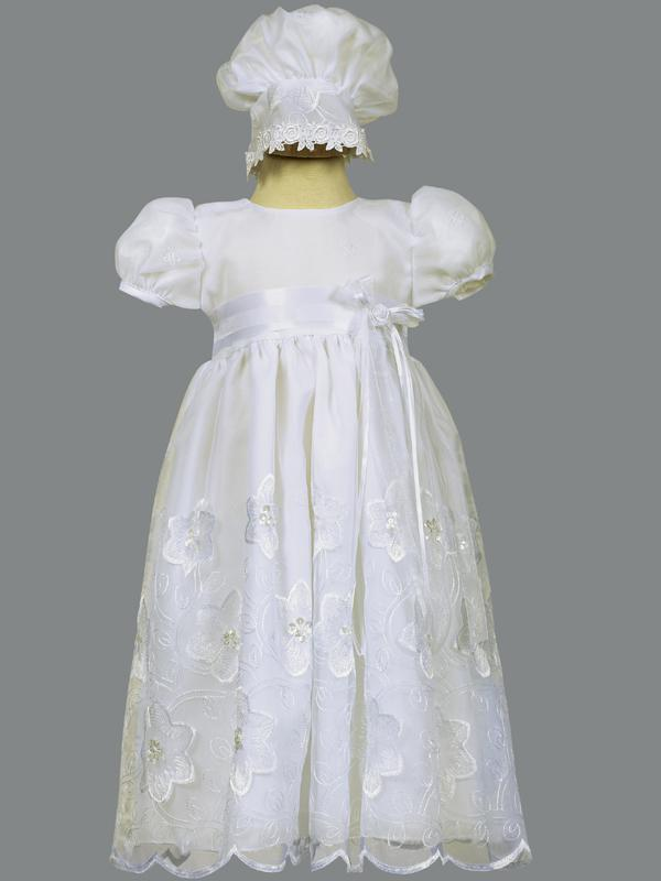 Lito Christening Dress Embroidered Organza & Bonnet style Samantha