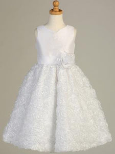 Communion White Sequins Flower Dress Tea Length Lito SP12