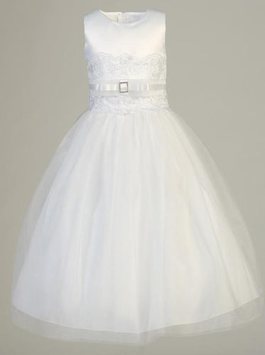 Lito White Communion Dress Satin Tulle T-Length SP140
