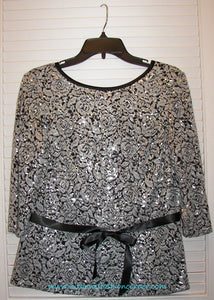Lourea Ladies Sequins Black White Top