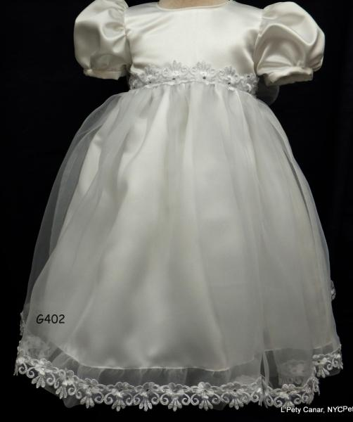 L'Pety Canar White Satin Christening Dress  Style G402