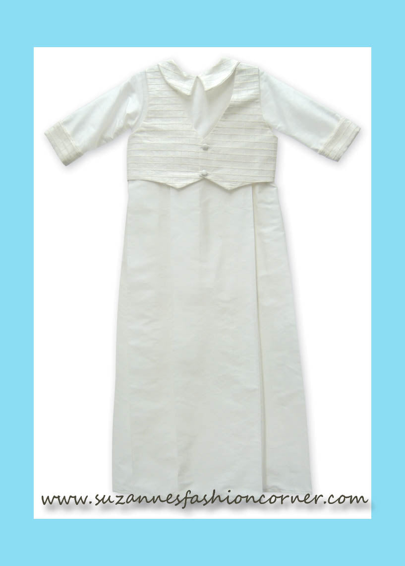L'Pety Canar Boys White Silk Christening Gown with Matching Hat