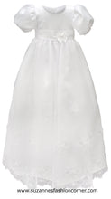 Load image into Gallery viewer, L'Pety Canar Girls White Satin Christening Dress & Hat style G310