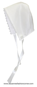 L'Pety Canar Girls White Satin Christening Dress & Hat style G310
