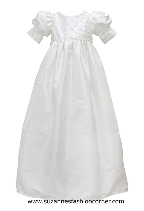 Girls L'Pety Canar White Silk Christening Dress with matching Hat style G402