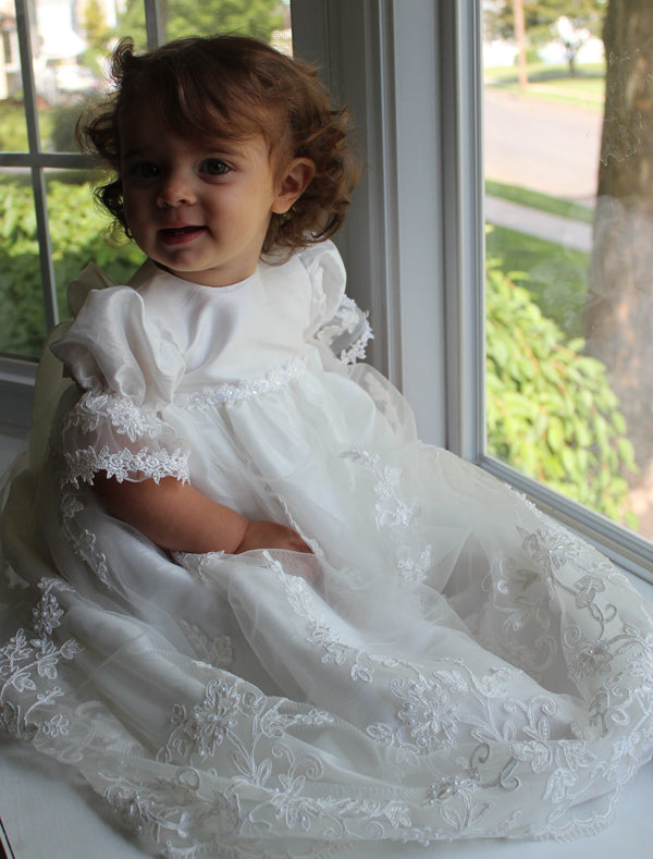 Macis Design White Christening Dress & Hat