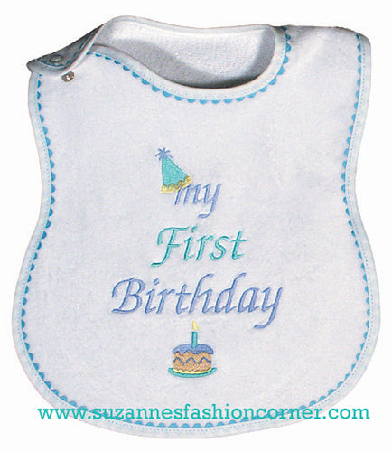 My First Birthday Bib Boys
