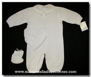 Infant White 4 pc Long-All by Renzo