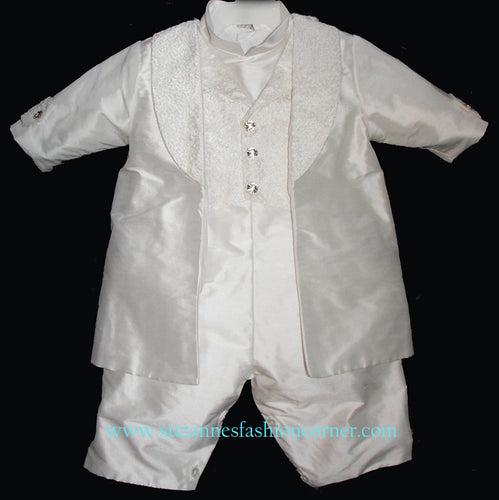 L'Pety Canar Boys Silk Shantung Christening Outfit style B776-LC