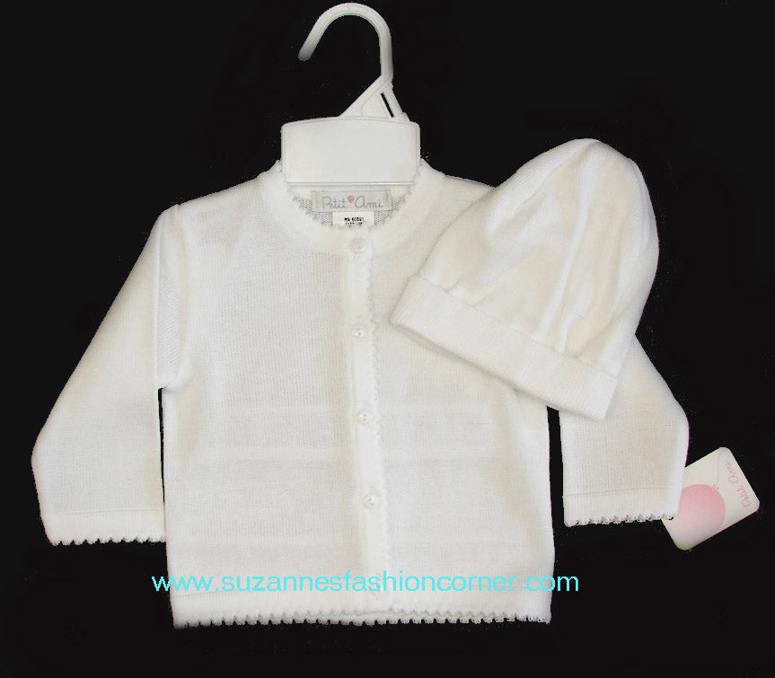 Infant White Cotton Sweater & Hat