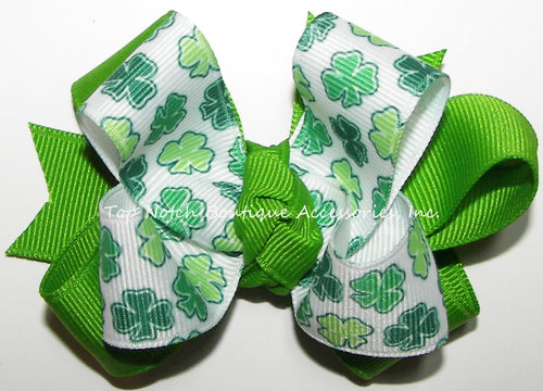 Green Shamrock Hair Bow Clip