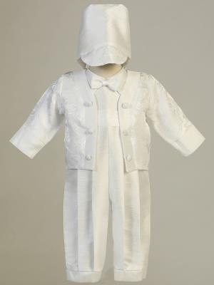 Boy's Baptism Brocade Jacket Romper