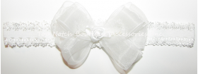 Christening White Organza Rose Pearl Bow Lace Headband