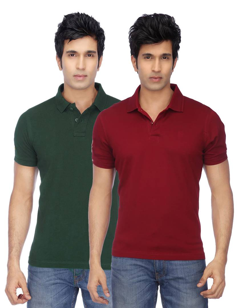 Men Multicoloured Cotton Blend Slim Fit Polos T-Shirt (Pack of 2) GlowRoad