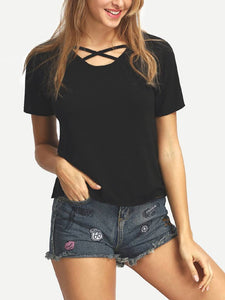 Women Black Solid Cross Neck Top Regular Length GlowRoad