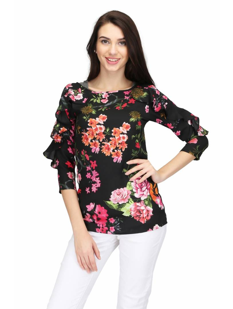 Black Floral Printed Ruffle Blouse Top Regular Length GlowRoad