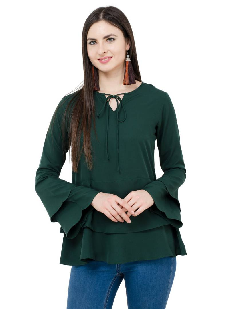 Green Colour Regular Length Crepe Casual Tops GlowRoad