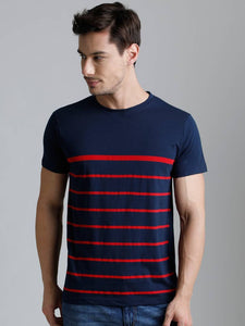 Dillinger Men's Navy Blue Striped Cotton Round Neck T Shirt Tees GlowRoad