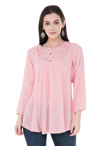 Women's Crepe Pink Top Regular Length GlowRoad