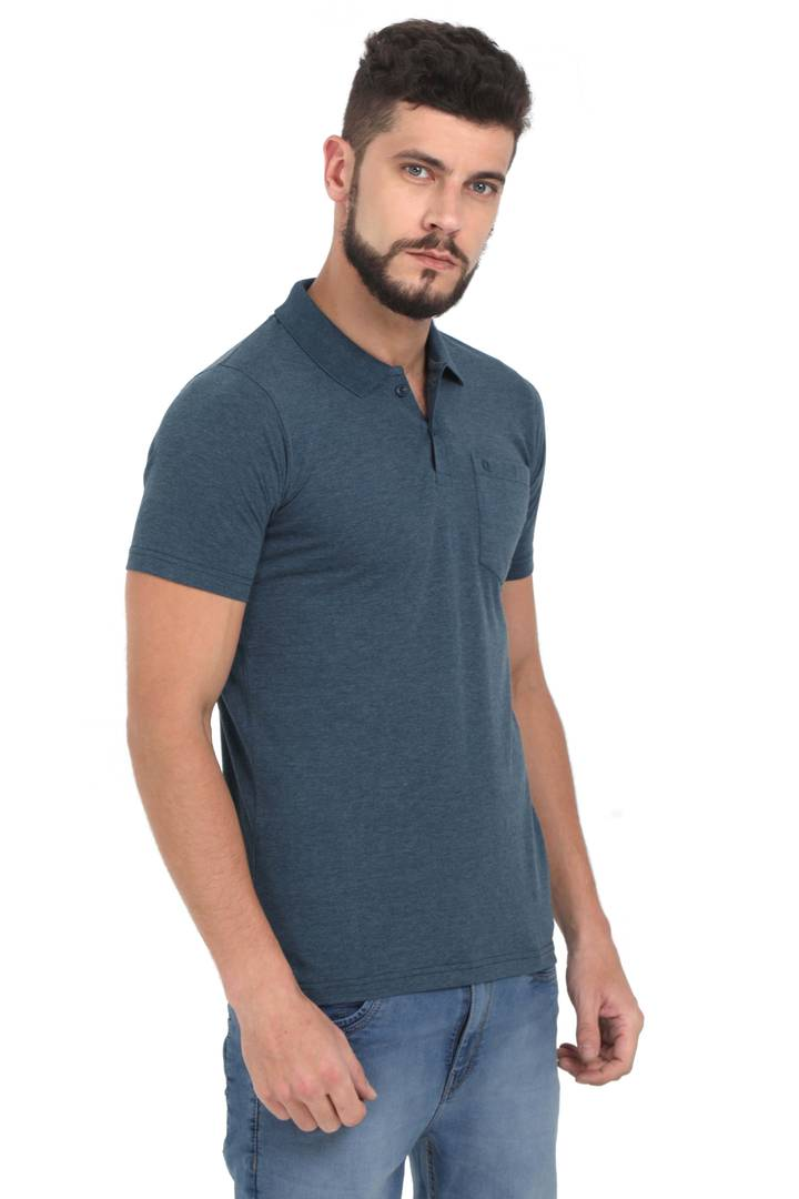 Men Grey Solid Cotton Polo T-shirt Polos GlowRoad