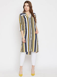 Multicoloured Stripted Long Shirt Tunic Top GlowRoad
