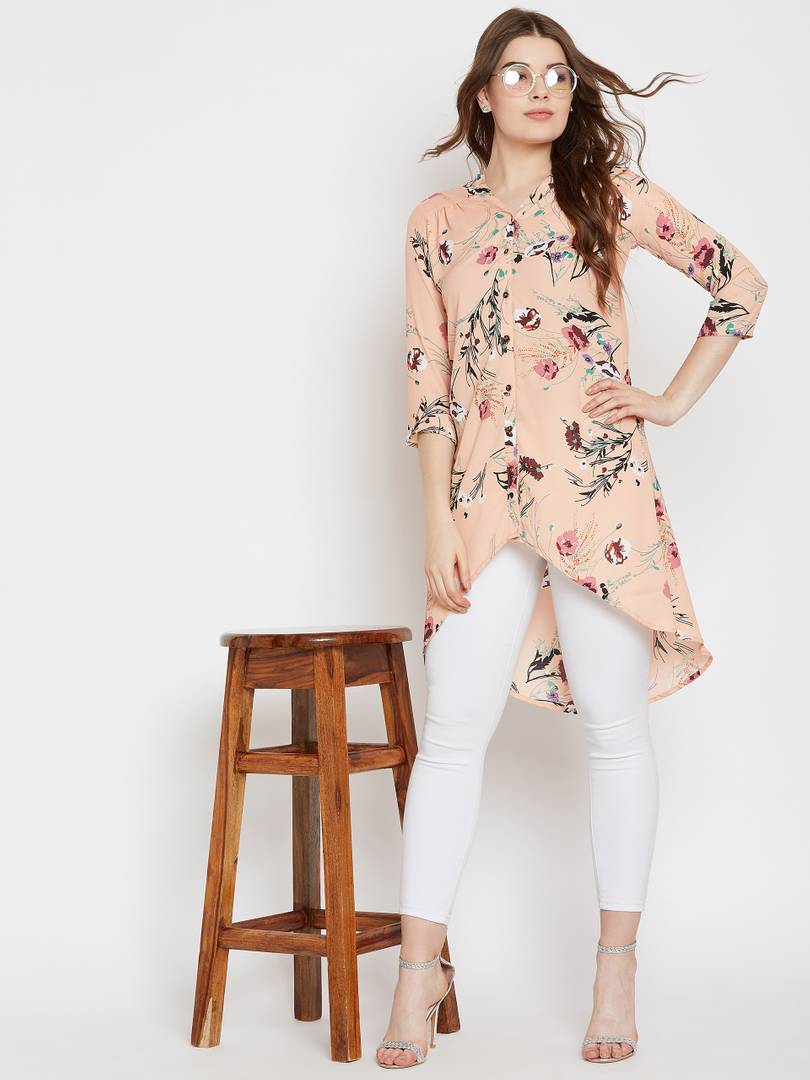 Peach Floral Printed Asymmetric Tunic Top Long Length GlowRoad