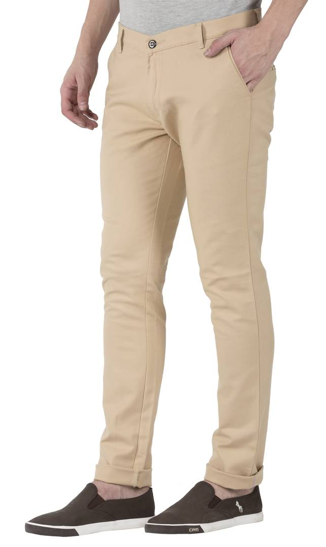 Light Brown Stretchable Slim Fit Trousers For Men Mid-Rise GlowRoad