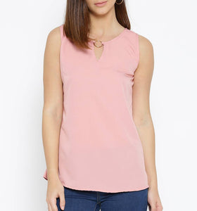 Pink Solid Polyester Blend Tees Regular Length GlowRoad