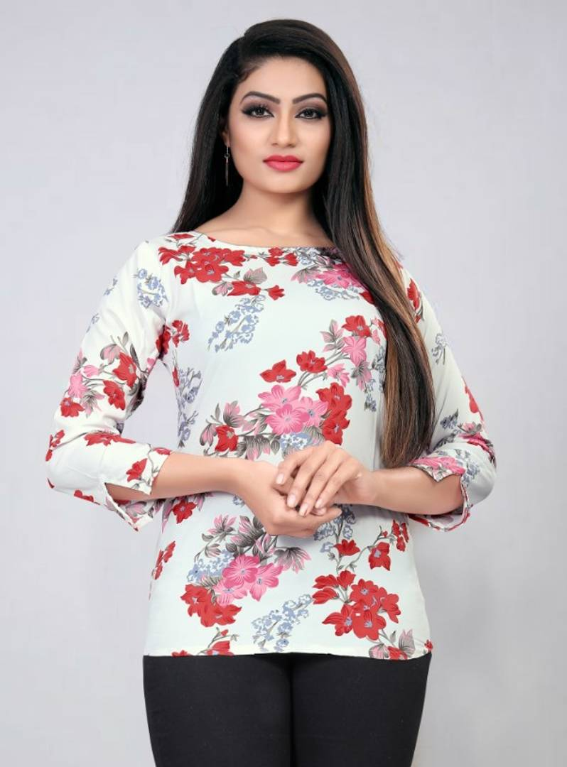 White Floral Printed Blouse Top Regular Length GlowRoad