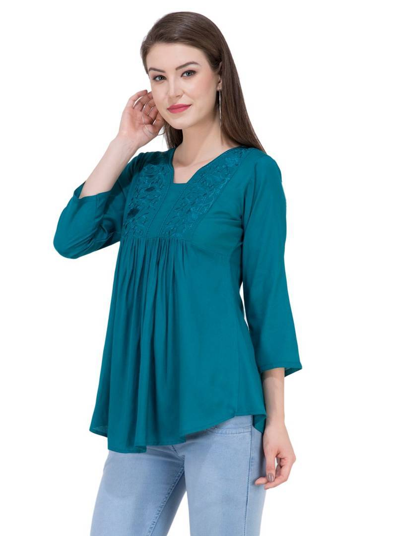 Women's Rayon Blue Embroidered Top Regular Length GlowRoad