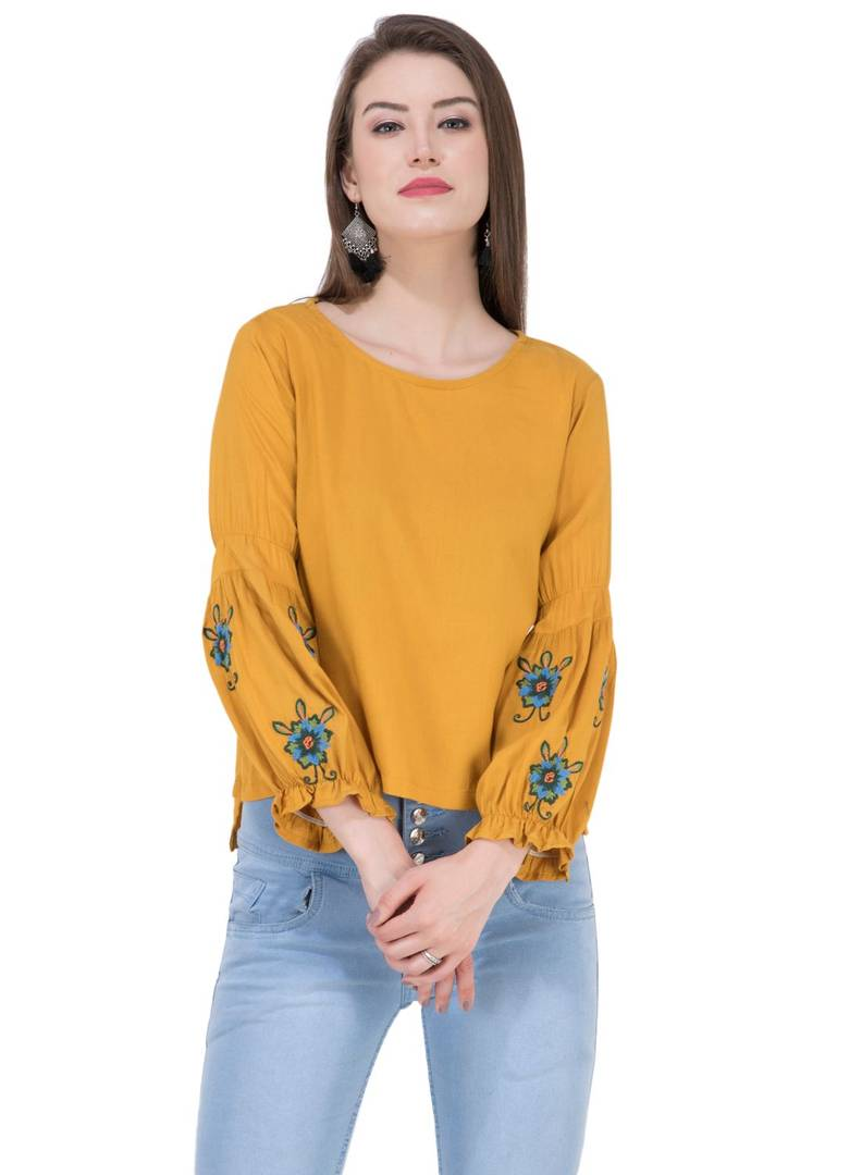 Women's Rayon Musturd Embroidered Top Regular Length GlowRoad