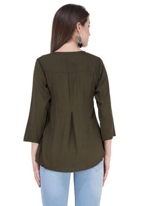 Women's Rayon Olive Embroidered Top Regular Length GlowRoad