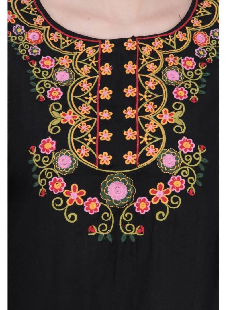 Women Rayon Black Embroidered Tunic Top Regular Length GlowRoad