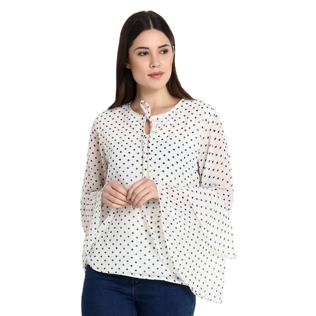 White Polka Dot Print Bell Sleeve Blouse Top GlowRoad