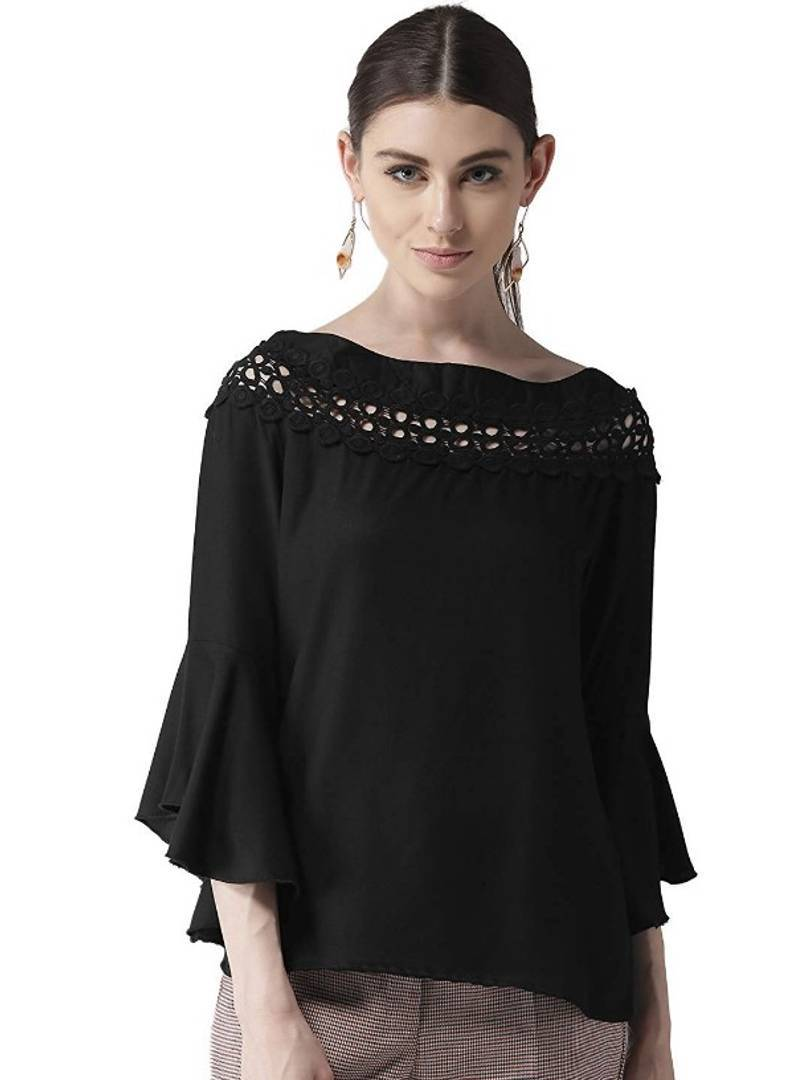 Black Boat Neck Lesho Top With Bell Sleeve Regular Length GlowRoad