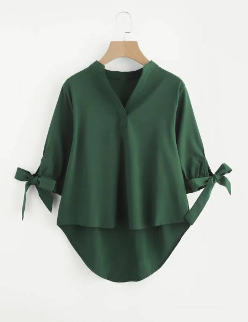Green Hi- Low Hem Blouse Top Regular Length GlowRoad