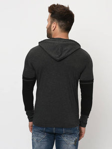 Men's Navy Blue Cotton Blend Self Pattern Hooded Tees Tees GlowRoad
