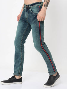 Men's Blue Denim Faded Slim Fit Low-Rise Jeans Low-Rise Jeans GlowRoad