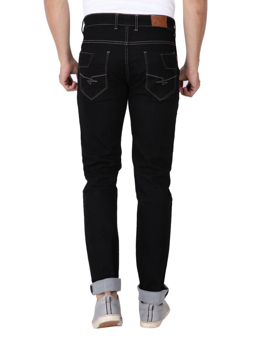 Men's Black Denim Solid Slim Fit Low-Rise Jeans Low-Rise Jeans GlowRoad
